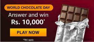 Amazon World Chocolate Day Quiz Answers – Win Rs. 10000