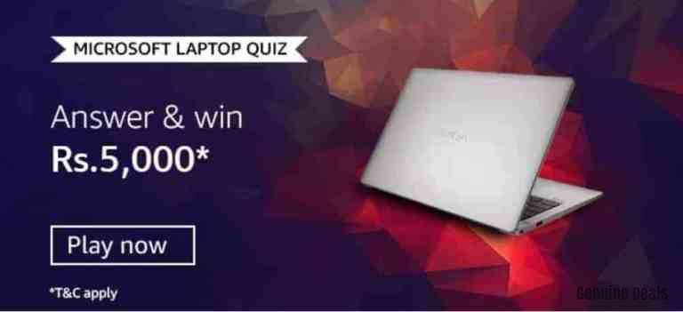 Amazon Microsoft Laptop Quiz Answers – Win Rs. 5000