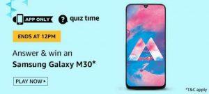 Amazon Quiz 5 July 2020 Answers – Win Samsung Galaxy M30