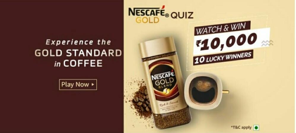 Amazon Nescafe Gold Quiz Answers – Win Rs. 10,000