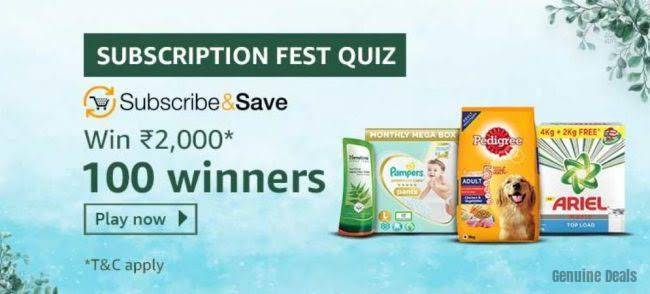 Amazon Subscription Fest Quiz Answers – Win Rs. 2,000