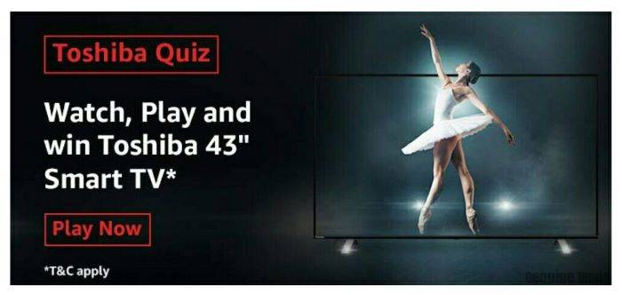 Amazon Toshiba Quiz Answers – Win Toshiba 43″ Smart TV